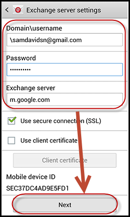 Setting up exchange email on samsung android